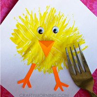 You need a piece of white paper, yellow paint, a fork, stick on eye's and orange card (although you could do without the eye's and card and draw eye's and legs instead)