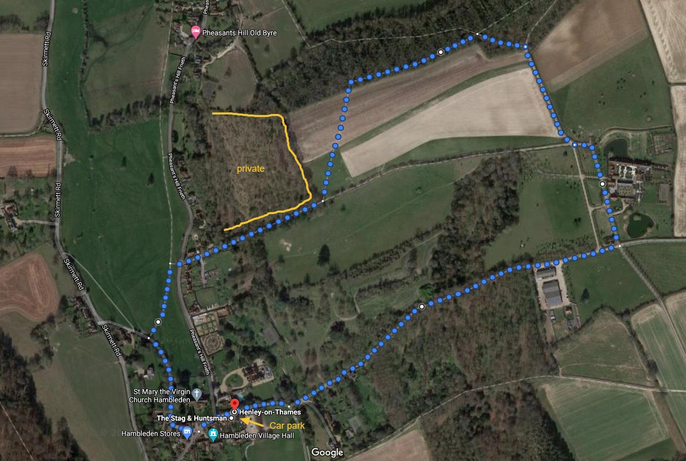 Pheasants Hill family walk map